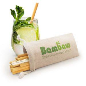Bambaw bambusz szívószál textilcsomagolással és szívószál mosóval