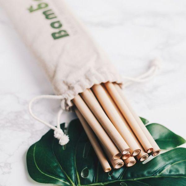 Bambaw bambusz szívószál textilcsomagolással