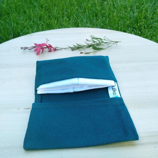 Julka petrolkék színű zsebkendőtartó szett