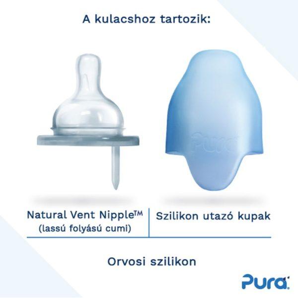 Pura cumisüveg kulacs 150ml-es szilikon cumi és kupak