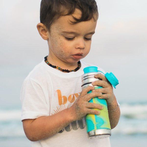 Pura termokulacs sportkupakkal 260 ml zöldkék színű kisfiúval