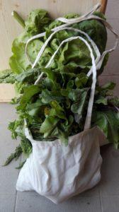 Vászonzsákban zöldségek.